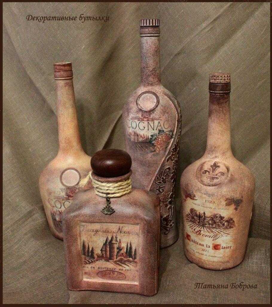 Декупаж бутылок своими руками под старину 40